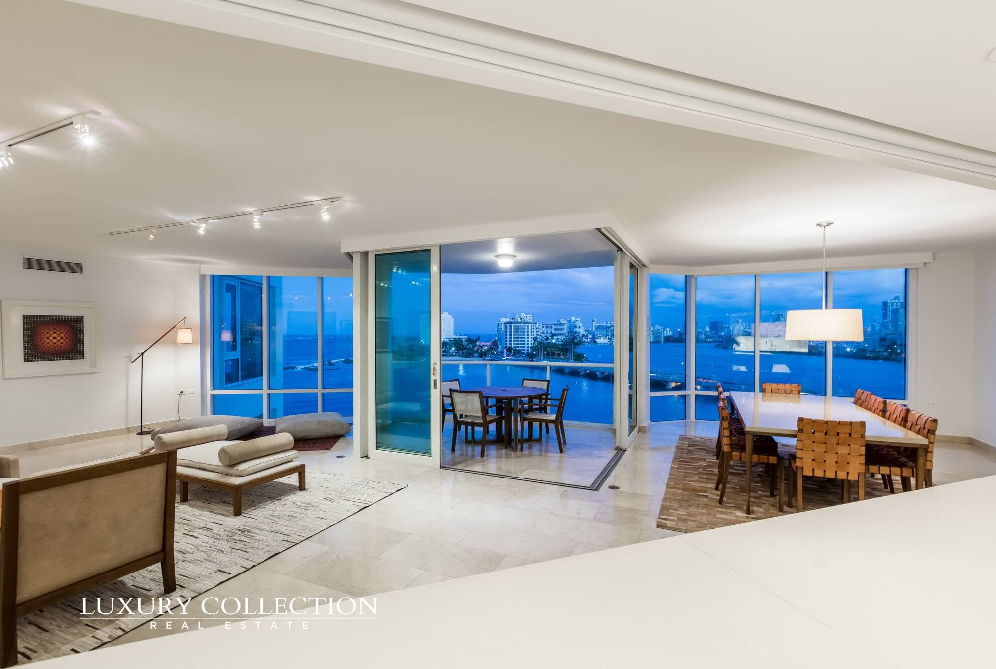 Laguna Plaza apartment for rent at Paseo Caribe Condado Puerto Rico with Atlantic ocean views and Condado lagoon and city skyline views.