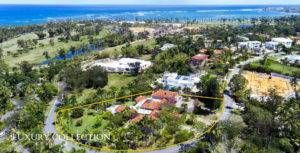 Dorado Beach Estates aerial view of corner lot looking at the near beach