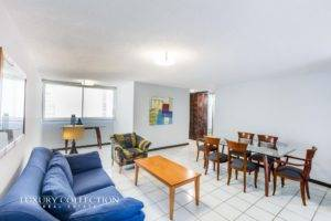 Furnished apartment for rent in Condado Puerto Rico at Magdalena 1305. Featuring two bedrooms and two full bathrooms, walking distance to best schools.