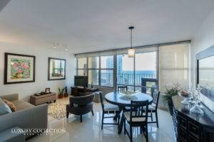 Enjoy stunning ocean views from this high-floor apartment in Torre del Mar in Condado for rent furnished with one bedroom and one full bathroom.